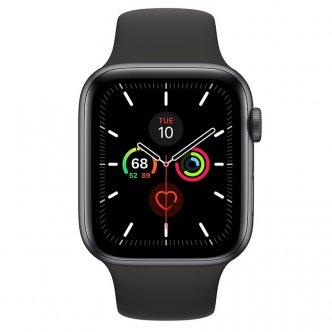 Apple Watch Series 5 GPS 44mm Space Gray Aluminum Case with Sport Band Black